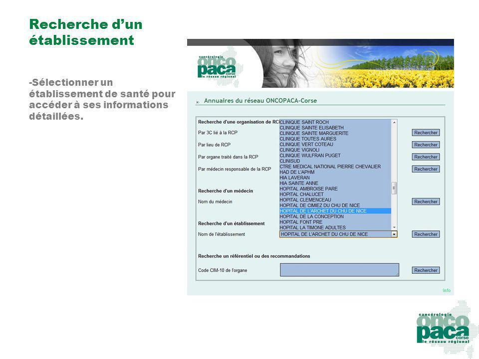 Recherche dun établissement -Sélectionner un établissement de santé pour accéder à ses informations détaillées.