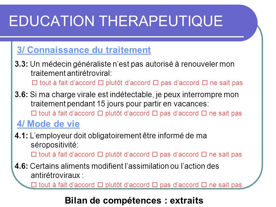 EDUCATION THERAPEUTIQUE 3/ Connaissance du traitement 4/ Mode de vie 3.3: Un médecin généraliste nest pas autorisé à renouveler mon traitement antirét