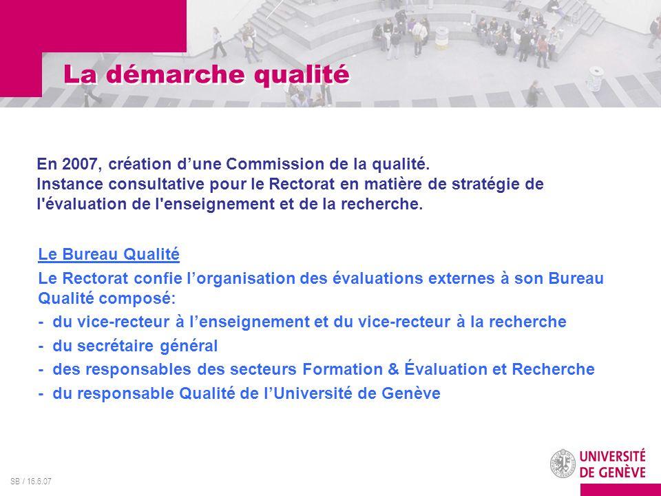 SB / 16.6.07 La démarche qualité En 2007, création dune Commission de la qualité. Instance consultative pour le Rectorat en matière de stratégie de l'