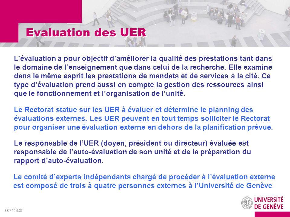 SB / 16.6.07 Evaluation des UER Lévaluation a pour objectif daméliorer la qualité des prestations tant dans le domaine de lenseignement que dans celui