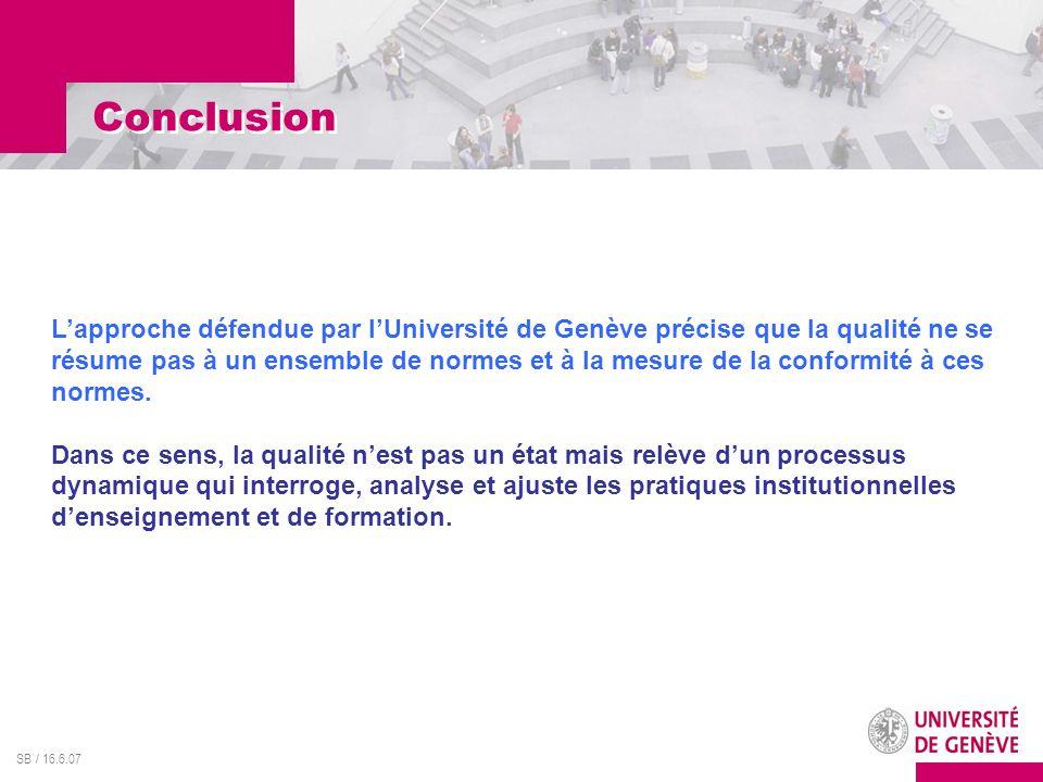 SB / 16.6.07 Lapproche défendue par lUniversité de Genève précise que la qualité ne se résume pas à un ensemble de normes et à la mesure de la conform