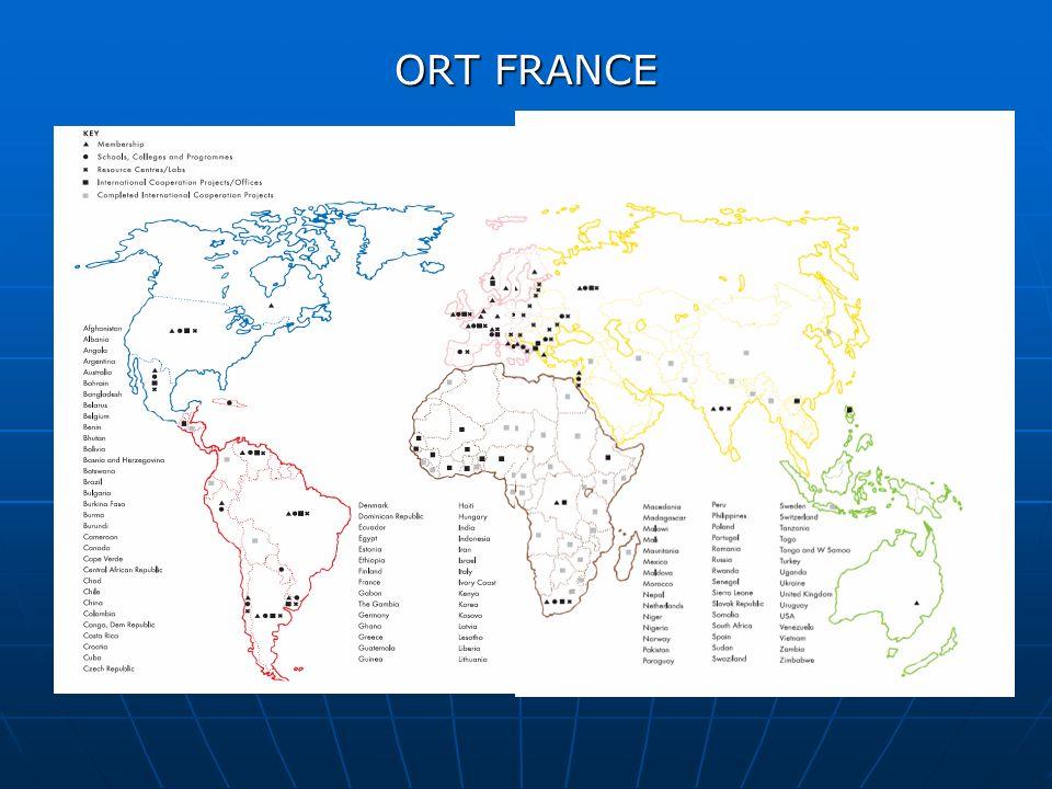 ORT FRANCE ORT France, entité française de WO (World Ort) Réseau mondial d éducation et de formation Plus de 300 sites dans le monde, 60 pays, sur différents continents 9 sites en France 400 000 personnes formées par an dans le monde dont 10 000 en France tous dispositifs confondus