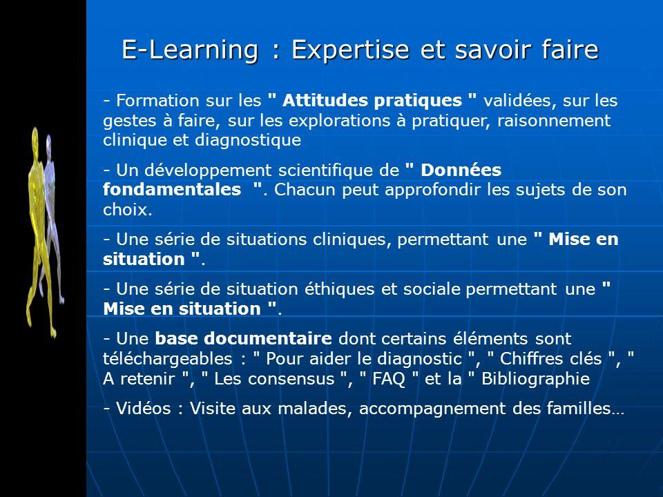 E-Learning : Expertise et savoir faire - Formation sur les Attitudes pratiques validées, sur les gestes à faire, sur les explorations à pratiquer, raisonnement clinique et diagnostique - Un développement scientifique de Données fondamentales .