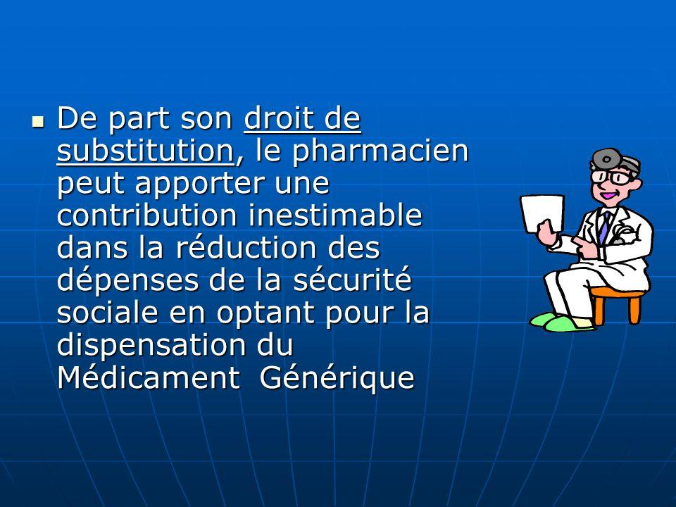 Etablissement dun Statut du Médicament Générique. (Définir officiellement scientifiquement et économiquement le générique). Etablissement dun Statut d