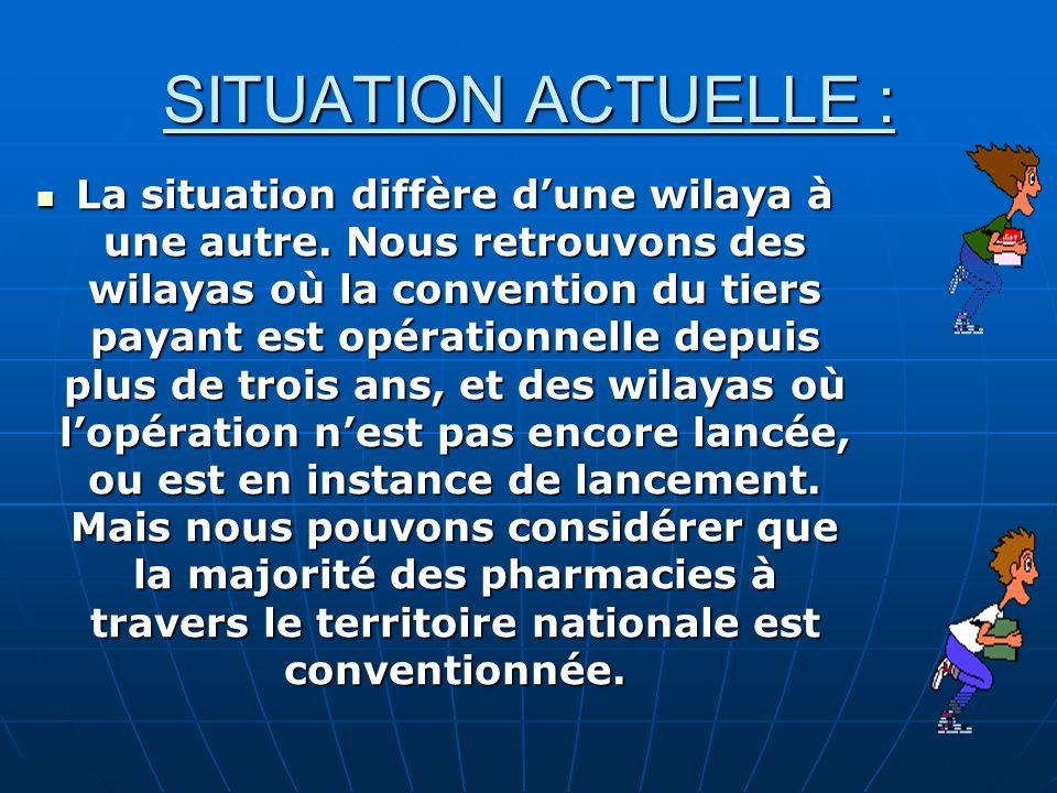 SITUATION ACTUELLE : La situation diffère dune wilaya à une autre.
