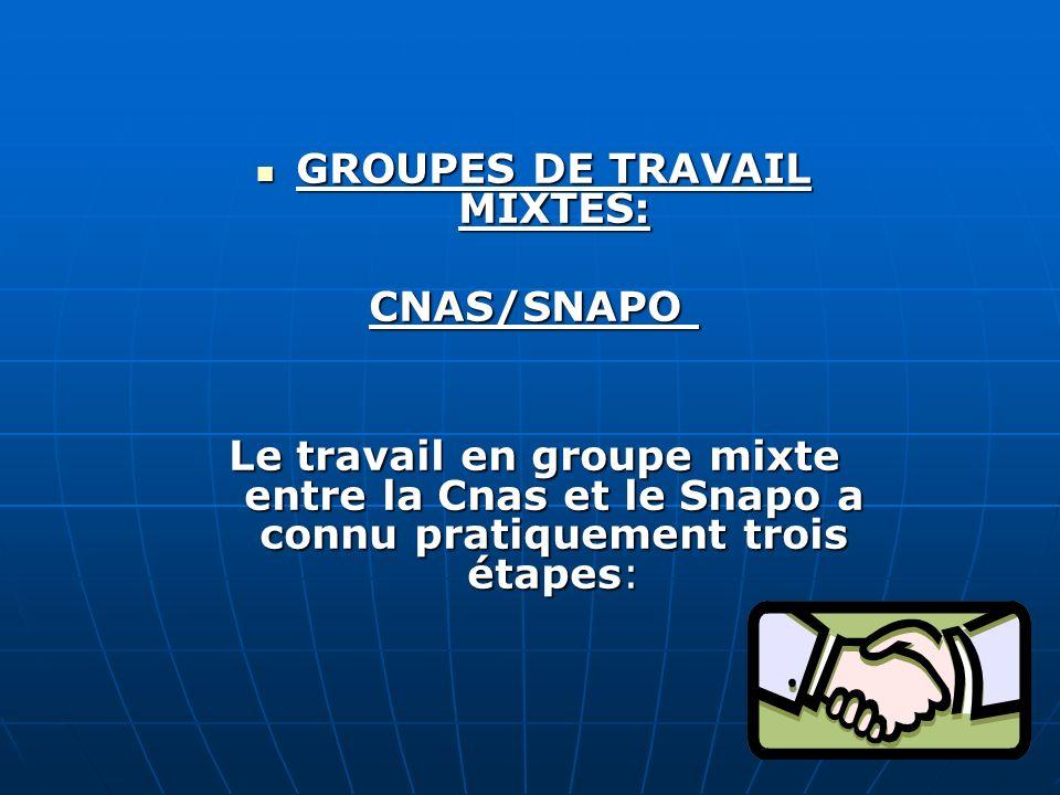 GROUPES DE TRAVAIL MIXTES: GROUPES DE TRAVAIL MIXTES: CNAS/SNAPO CNAS/SNAPO Le travail en groupe mixte entre la Cnas et le Snapo a connu pratiquement trois étapes: