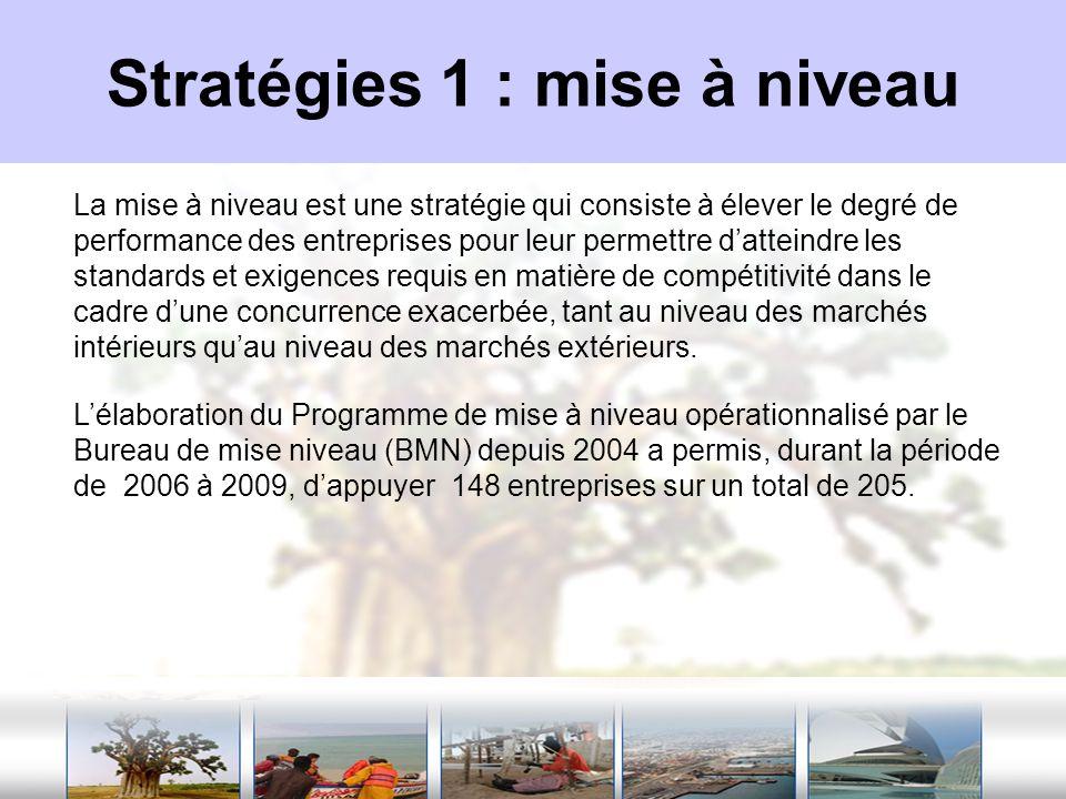 Stratégies 1 : mise à niveau La mise à niveau est une stratégie qui consiste à élever le degré de performance des entreprises pour leur permettre datt