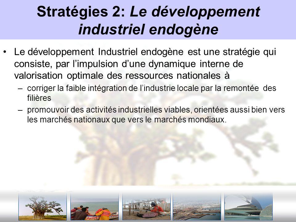 Stratégies 2: Le développement industriel endogène Le développement Industriel endogène est une stratégie qui consiste, par limpulsion dune dynamique
