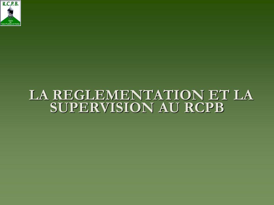 LA REGLEMENTATION ET LA SUPERVISION AU RCPB
