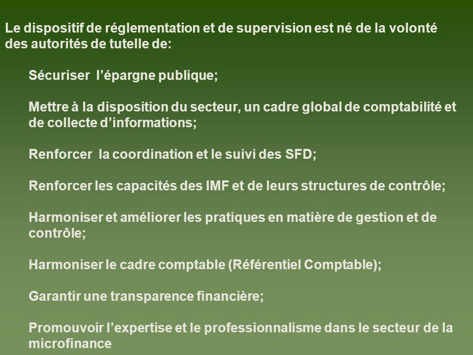 Le dispositif de réglementation et de supervision est né de la volonté des autorités de tutelle de: Sécuriser lépargne publique; Mettre à la disposition du secteur, un cadre global de comptabilité et de collecte dinformations; Renforcer la coordination et le suivi des SFD; Renforcer les capacités des IMF et de leurs structures de contrôle; Harmoniser et améliorer les pratiques en matière de gestion et de contrôle; Harmoniser le cadre comptable (Référentiel Comptable); Garantir une transparence financière; Promouvoir lexpertise et le professionnalisme dans le secteur de la microfinance
