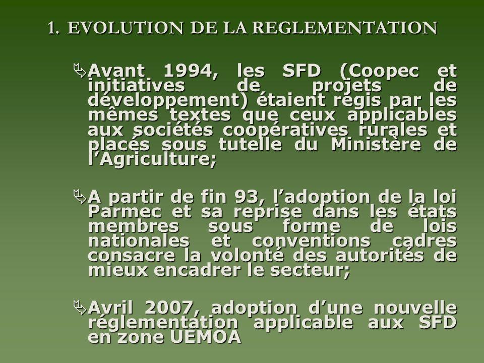 1. EVOLUTION DE LA REGLEMENTATION Avant 1994, les SFD (Coopec et initiatives de projets de développement) étaient régis par les mêmes textes que ceux