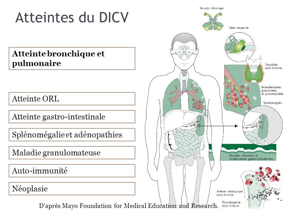 Atteintes du DICV Atteinte bronchique et pulmonaire Atteinte ORL Atteinte gastro-intestinale Splénomégalie et adénopathies Maladie granulomateuse Auto