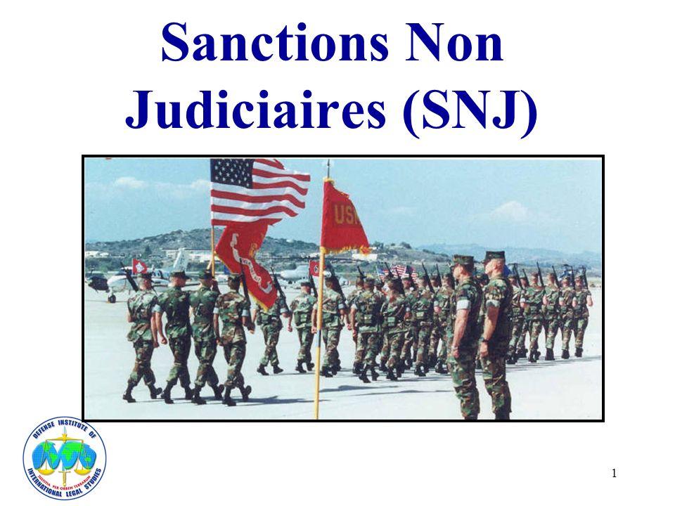 22 Le commandant dun militaire ou commandant supérieur examinateur peut également: –Réduire la sanction –Suspendre la sanction en tout ou en partie Ces actions doivent généralement intervenir dans un délai de quatre mois après verdict SNJ