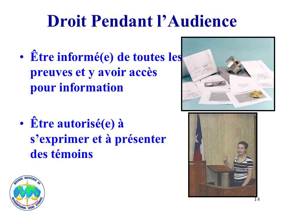 14 Droit Pendant lAudience Être informé(e) de toutes les preuves et y avoir accès pour information Être autorisé(e) à sexprimer et à présenter des témoins