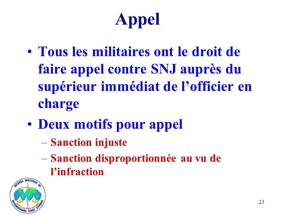 23 Appel Tous les militaires ont le droit de faire appel contre SNJ auprès du supérieur immédiat de lofficier en charge Deux motifs pour appel –Sanction injuste –Sanction disproportionnée au vu de linfraction