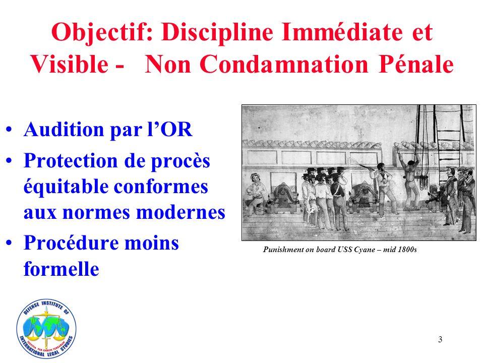 3 Objectif: Discipline Immédiate et Visible - Non Condamnation Pénale Audition par lOR Protection de procès équitable conformes aux normes modernes Procédure moins formelle Punishment on board USS Cyane – mid 1800s