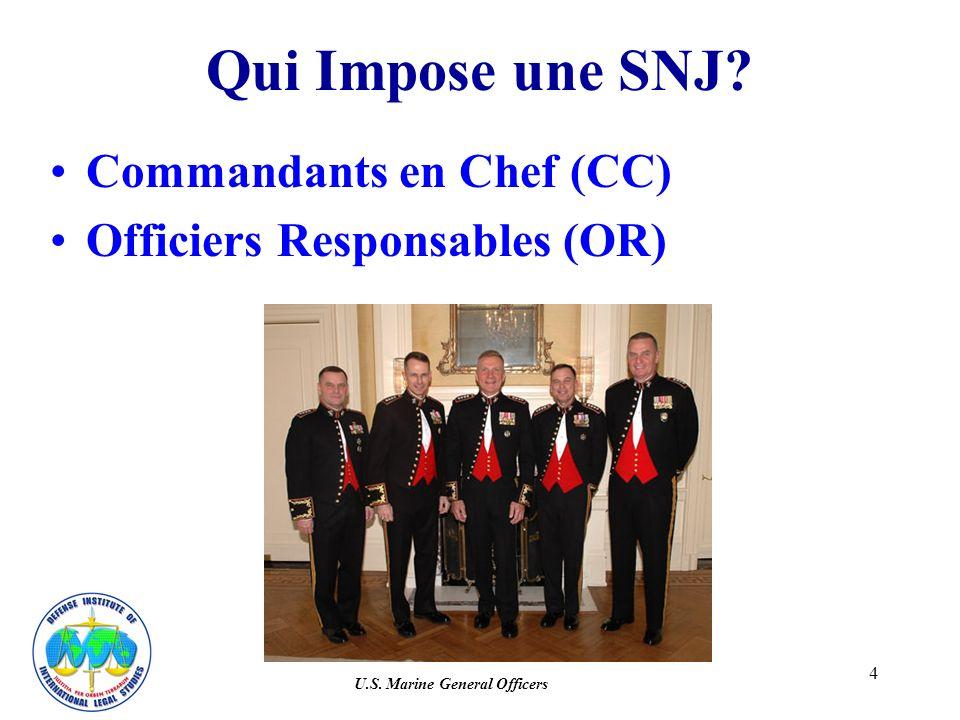 5 Autorité SNJ Aucun officier de grade inférieur au CC ou OR ne peut limposer Aucune délégation possible –CC a obligation de réserver un traitement équitable à ses sublaternes