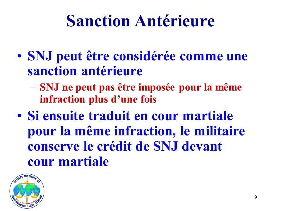 9 Sanction Antérieure SNJ peut être considérée comme une sanction antérieure –SNJ ne peut pas être imposée pour la même infraction plus dune fois Si ensuite traduit en cour martiale pour la même infraction, le militaire conserve le crédit de SNJ devant cour martiale
