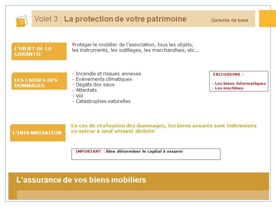 12 LOBJET DE LA GARANTIE LES CAUSES DES DOMMAGES LINDEMNISATION Garantie de base Volet 3 : La protection de votre patrimoine En cas de réalisation des