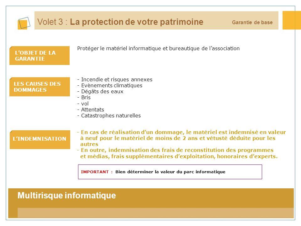 13 LOBJET DE LA GARANTIE LES CAUSES DES DOMMAGES LINDEMNISATION La tarification Garantie de base Volet 3 : La protection de votre patrimoine - En cas