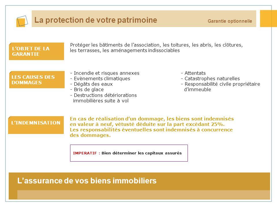 16 LOBJET DE LA GARANTIE LES CAUSES DES DOMMAGES LINDEMNISATION La tarification Garantie optionnelle La protection de votre patrimoine En cas de réali