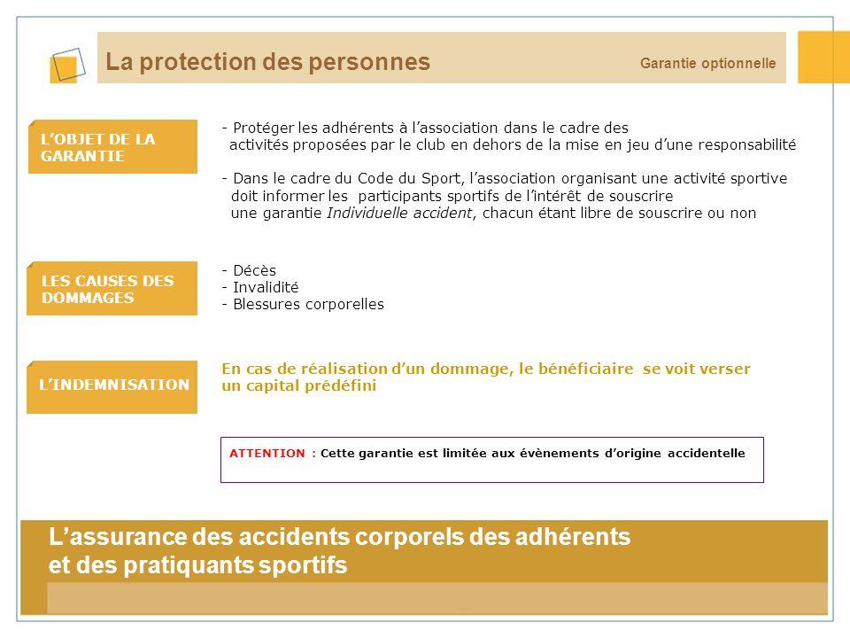 17 LOBJET DE LA GARANTIE LES CAUSES DES DOMMAGES LINDEMNISATION Garantie optionnelle La protection des personnes En cas de réalisation dun dommage, le