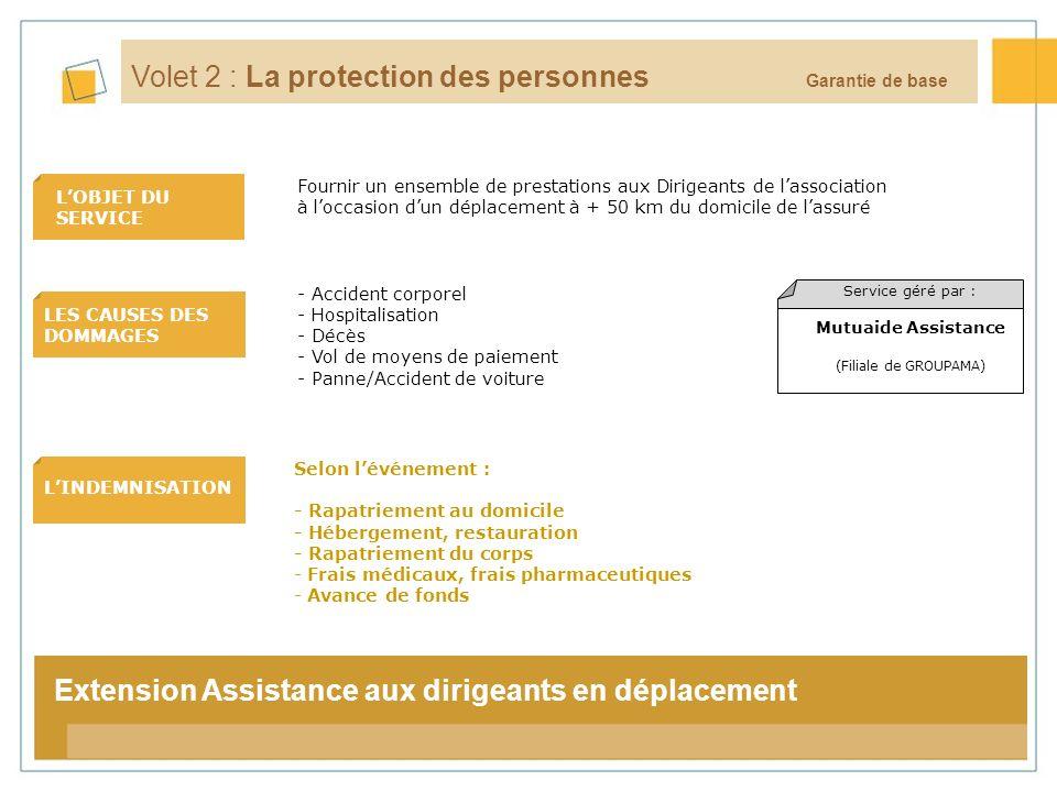 7 LOBJET DU SERVICE LES CAUSES DES DOMMAGES LINDEMNISATION La tarification Volet 2 : La protection des personnes Selon lévénement : - Rapatriement au
