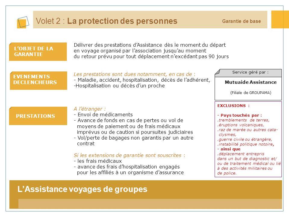 9 LOBJET DE LA GARANTIE EVENEMENTS DECLENCHEURS La tarification Garantie de base Volet 2 : La protection des personnes Les prestations sont dues notam