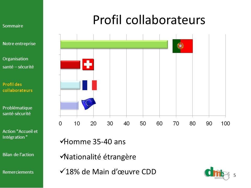 5 Profil collaborateurs Sommaire Notre entreprise Organisation santé – sécurité Profil des collaborateurs Problématique santé-sécurité Action