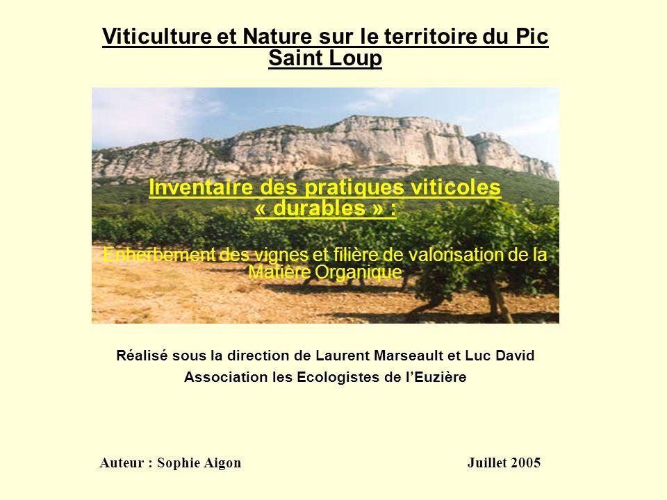 Réalisé sous la direction de Laurent Marseault et Luc David Association les Ecologistes de lEuzière Auteur : Sophie Aigon Juillet 2005 Viticulture et