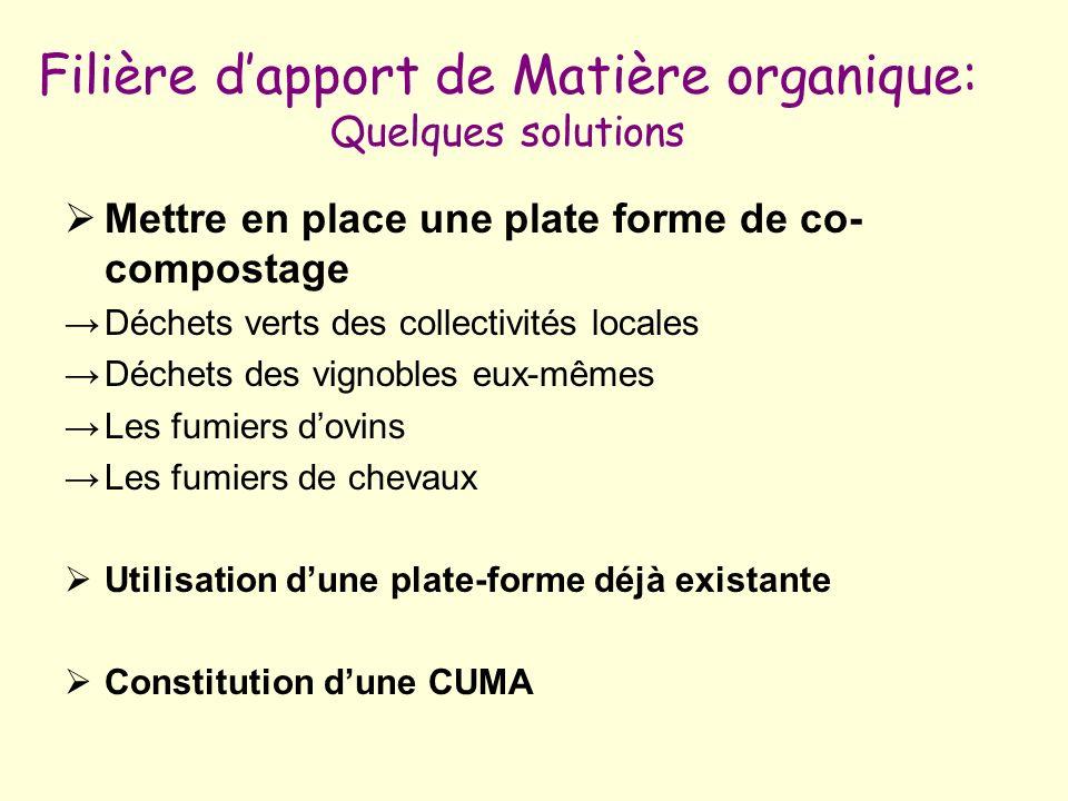 Filière dapport de Matière organique: Quelques solutions Mettre en place une plate forme de co- compostage Déchets verts des collectivités locales Déc