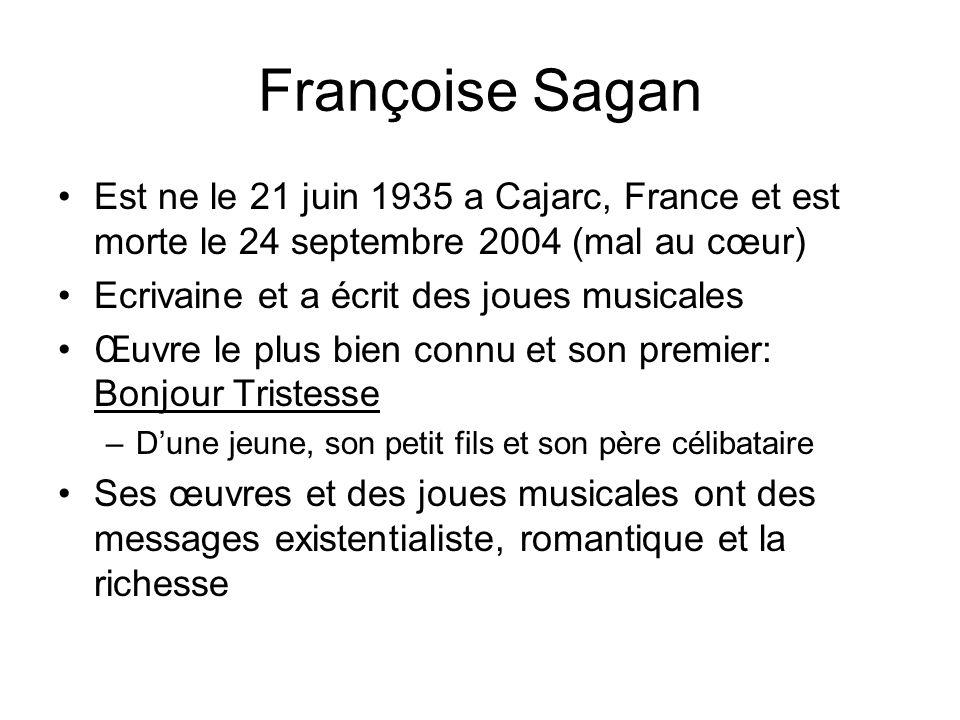Est ne le 21 juin 1935 a Cajarc, France et est morte le 24 septembre 2004 (mal au cœur) Ecrivaine et a écrit des joues musicales Œuvre le plus bien co