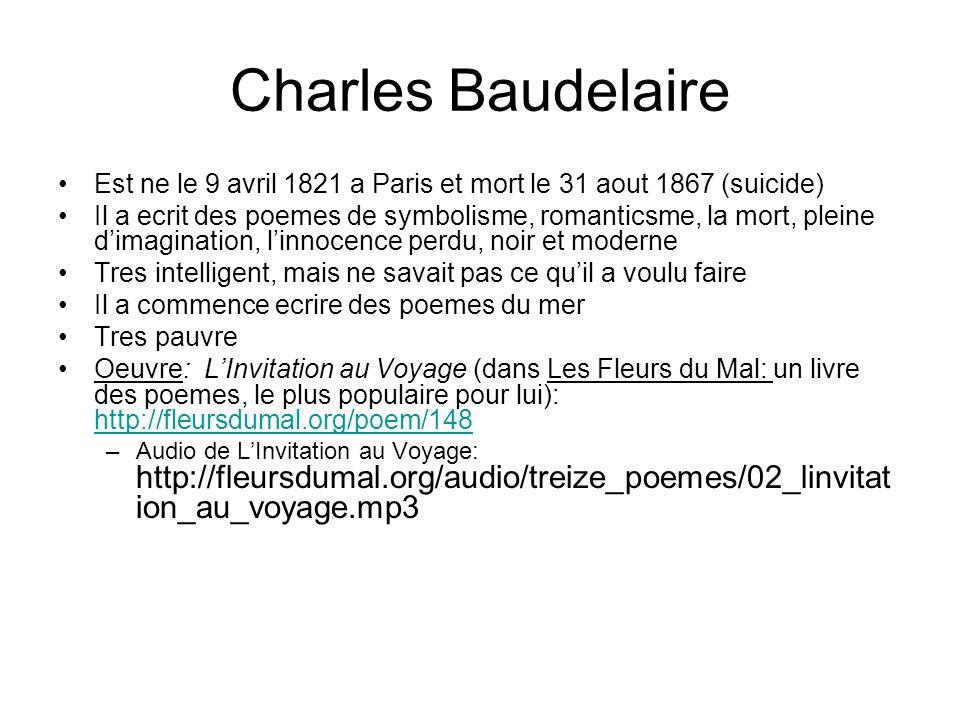 Est ne le 9 avril 1821 a Paris et mort le 31 aout 1867 (suicide) Il a ecrit des poemes de symbolisme, romanticsme, la mort, pleine dimagination, linno