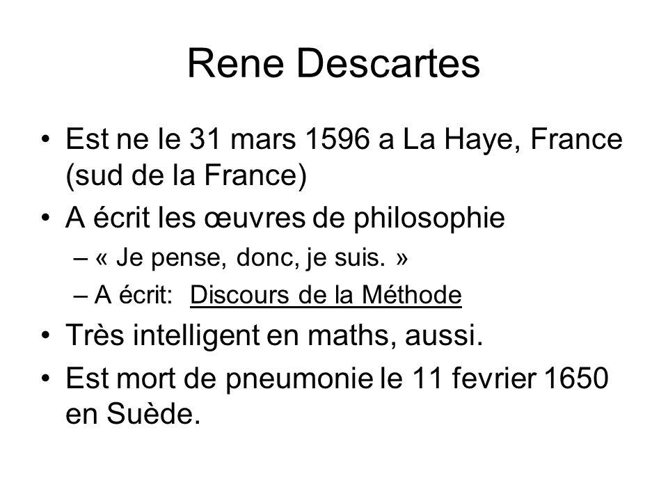 Discours de la Méthode Publié en 1637, est son premier texte philosophique1637 philosophique Audio: http://audiolivres.word press.com/2009/03/1 3/descartes-discours- de-la-methode/