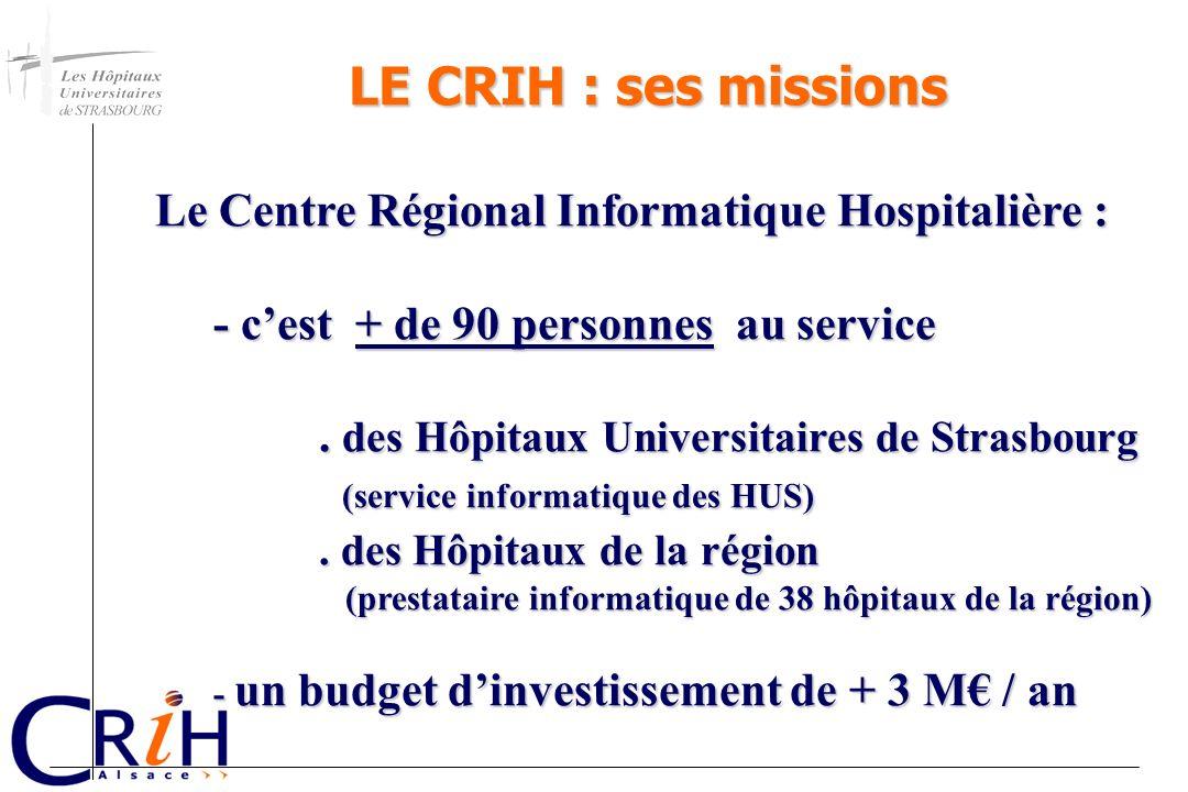 LE CRIH : ses missions Le Centre Régional Informatique Hospitalière : Le Centre Régional Informatique Hospitalière : - cest + de 90 personnes au servi