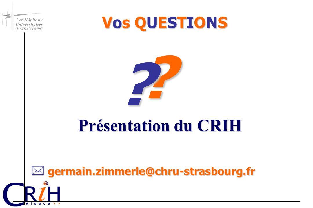 germain.zimmerle@chru-strasbourg.fr germain.zimmerle@chru-strasbourg.fr ? ? Vos QUESTIONS Présentation du CRIH