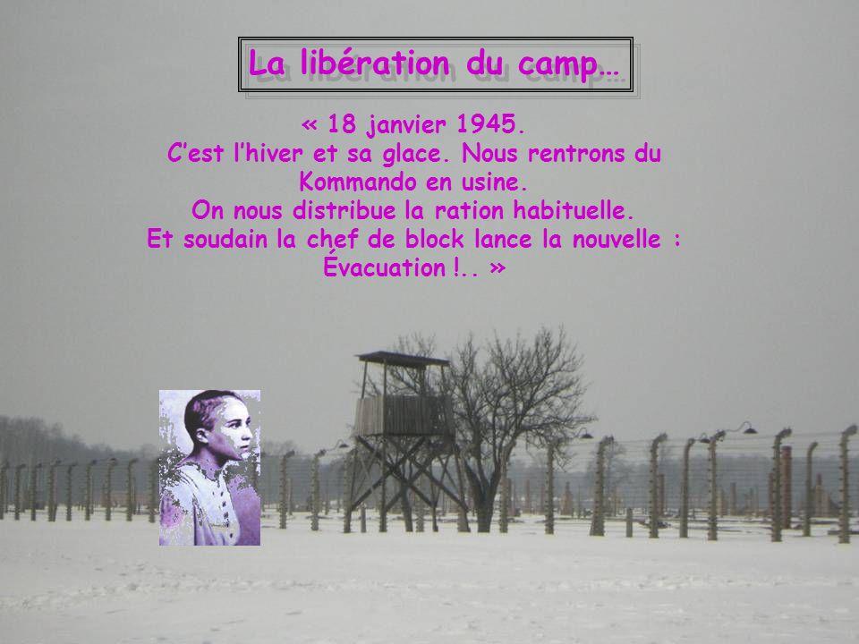 La libération du camp… « 18 janvier 1945. Cest lhiver et sa glace. Nous rentrons du Kommando en usine. On nous distribue la ration habituelle. Et soud