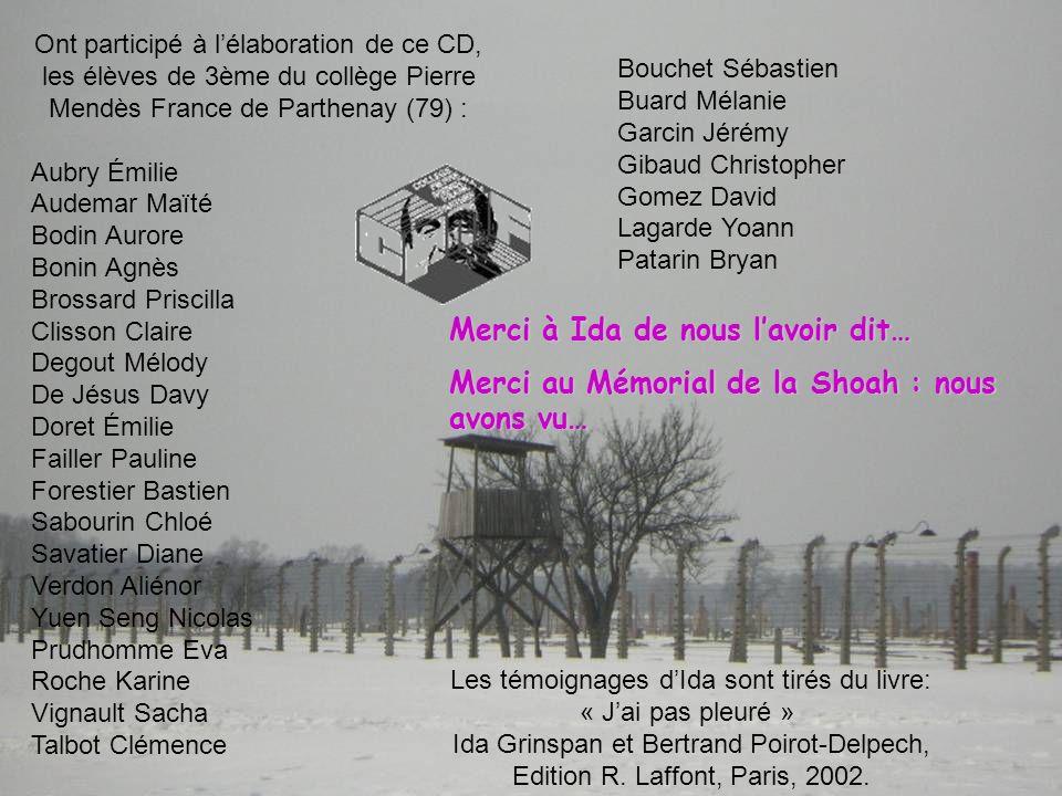 Ont participé à lélaboration de ce CD, les élèves de 3ème du collège Pierre Mendès France de Parthenay (79) : Aubry Émilie Audemar Maïté Bodin Aurore