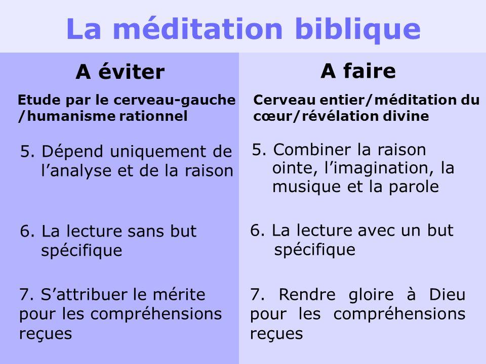 La méditation biblique A éviter A faire Etude par le cerveau-gauche /humanisme rationnel Cerveau entier/méditation du cœur/révélation divine 5. Dépend