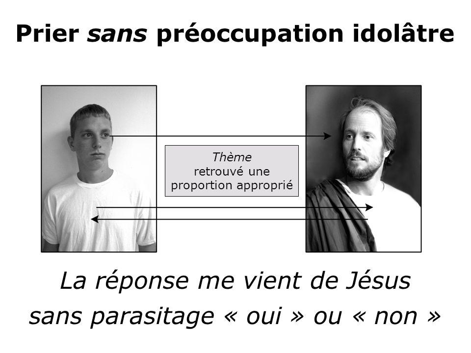 La réponse me vient de Jésus sans parasitage « oui » ou « non » Prier sans préoccupation idolâtre Thème retrouvé une proportion approprié