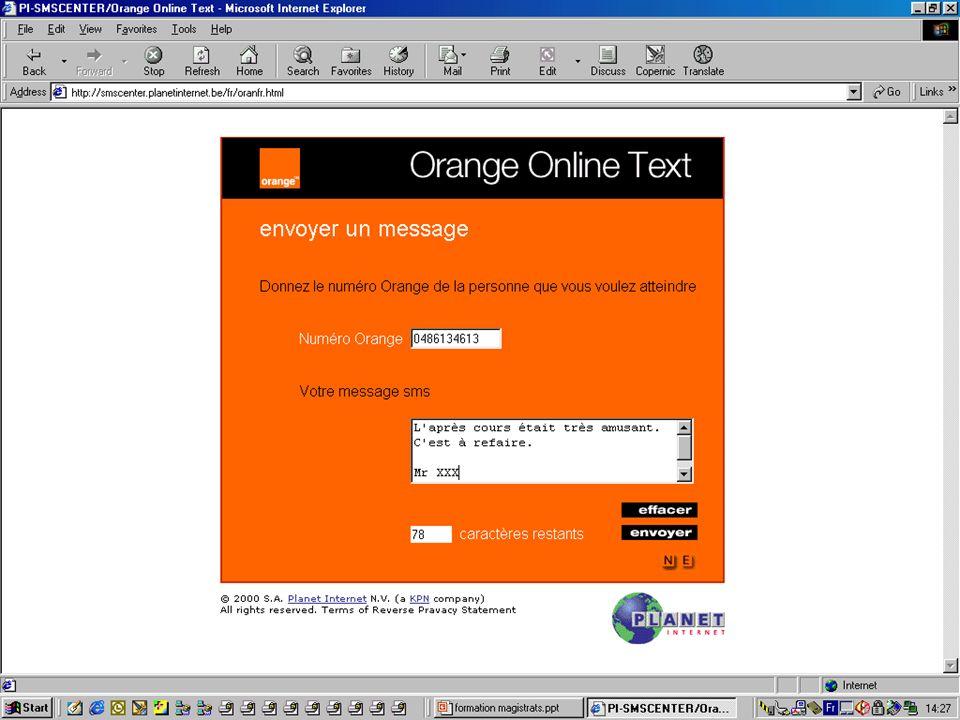 Ecran à remplir le message Orange