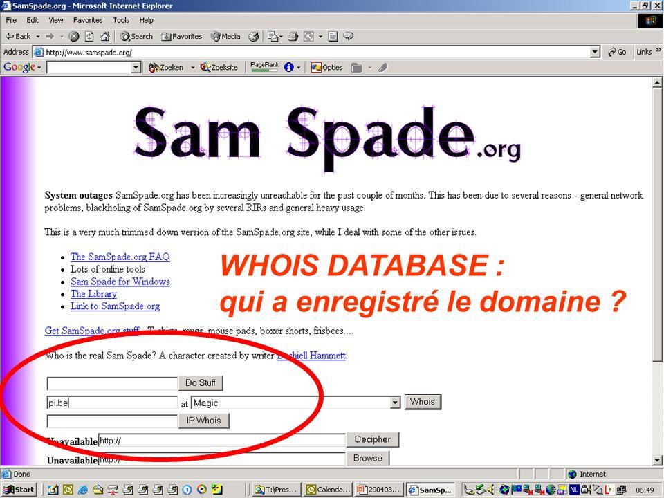 WHOIS DATABASE : qui a enregistré le domaine ?
