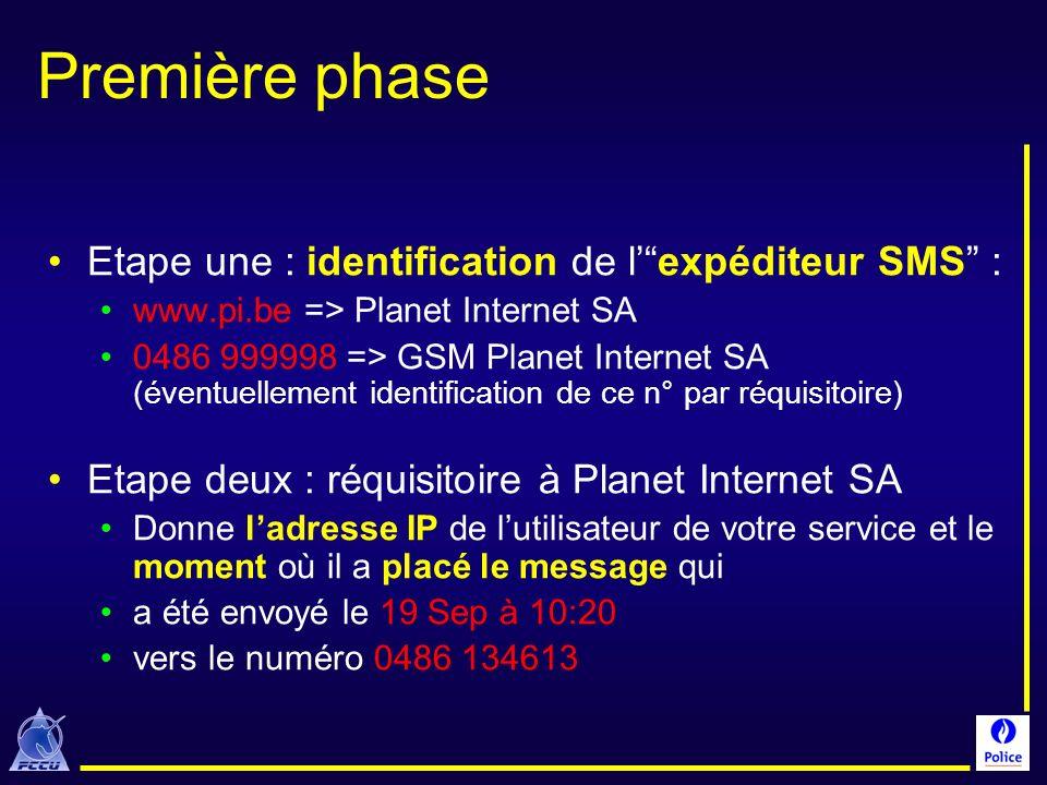 Première phase Etape une : identification de lexpéditeur SMS : www.pi.be => Planet Internet SA 0486 999998 => GSM Planet Internet SA (éventuellement i