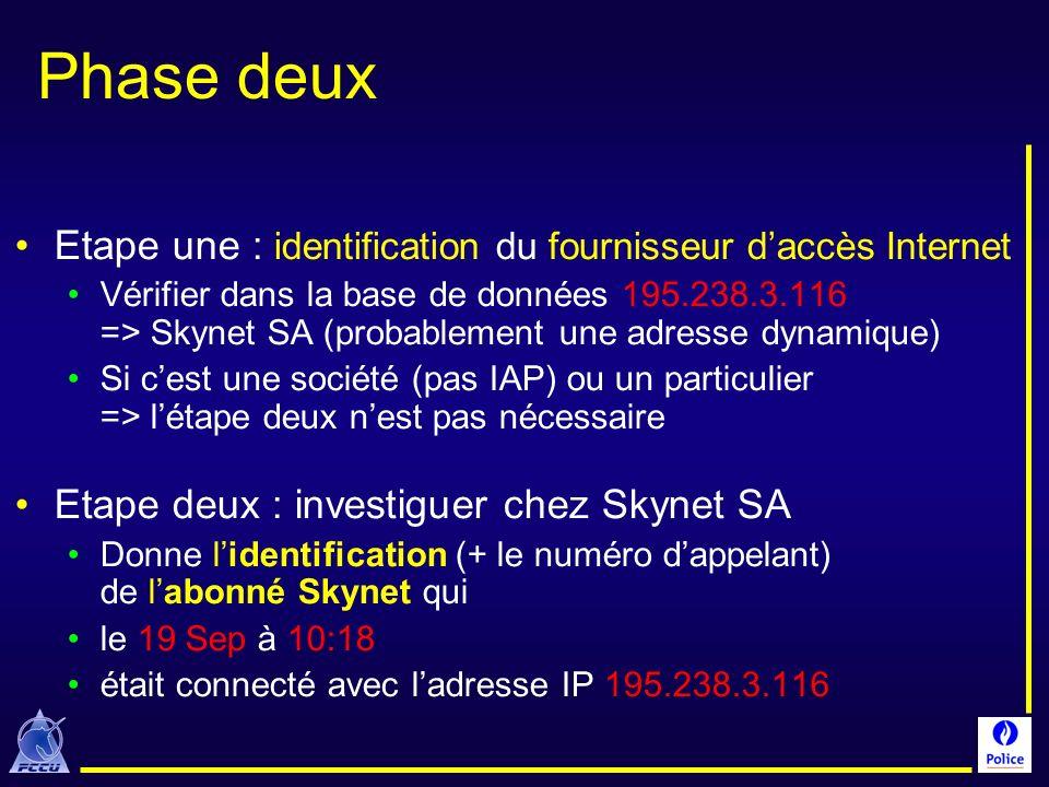 Phase deux Etape une : identification du fournisseur daccès Internet Vérifier dans la base de données 195.238.3.116 => Skynet SA (probablement une adr
