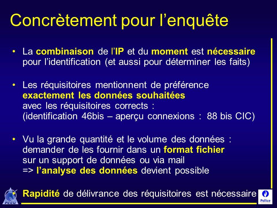 Concrètement pour lenquête La combinaison de lIP et du moment est nécessaire pour lidentification (et aussi pour déterminer les faits) Les réquisitoir