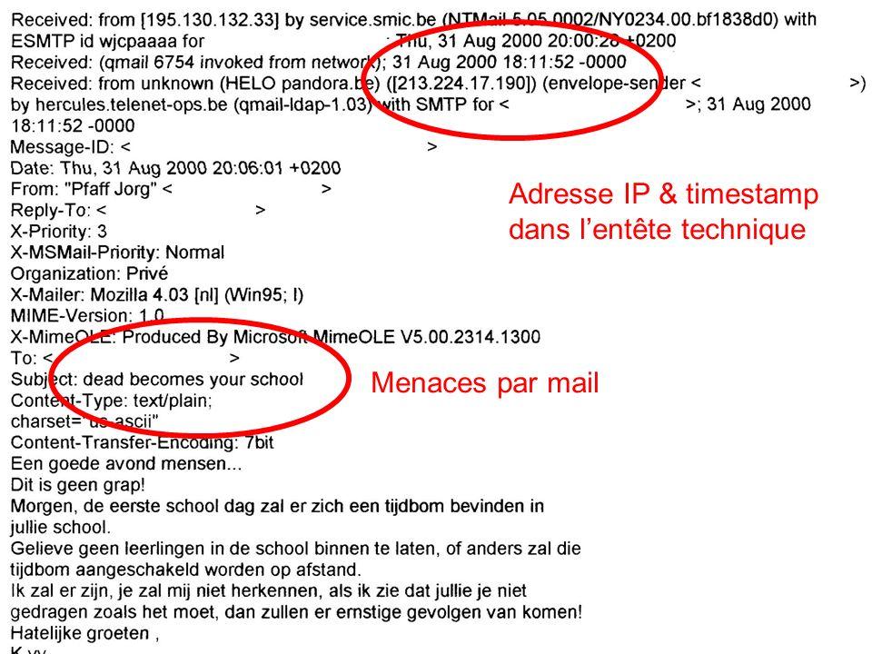 Menaces par mail Adresse IP & timestamp dans lentête technique