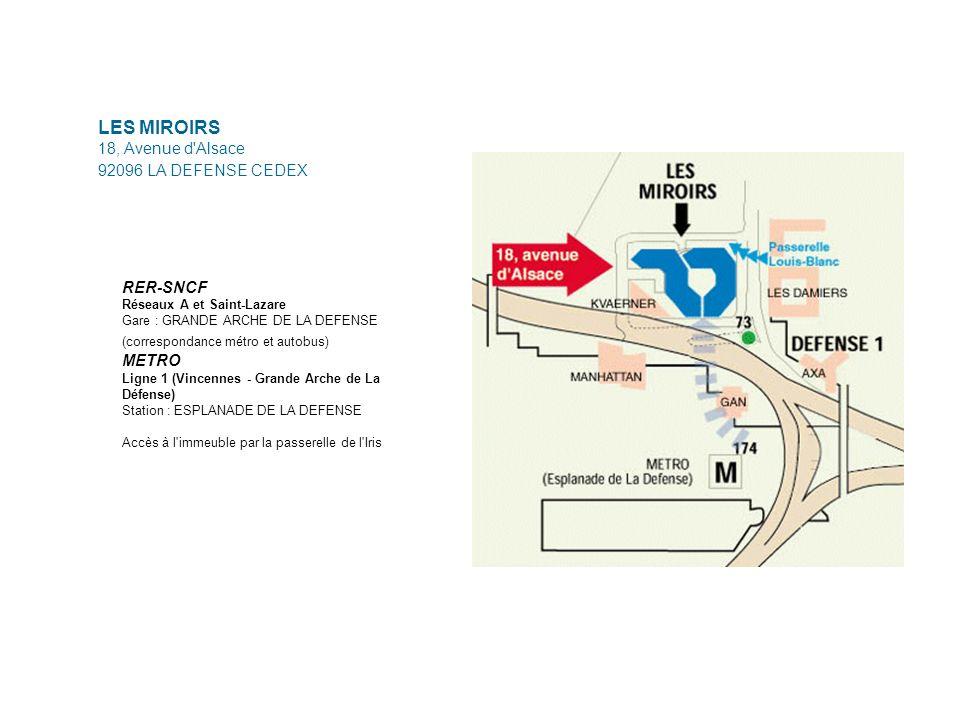LES MIROIRS 18, Avenue d'Alsace 92096 LA DEFENSE CEDEX RER-SNCF Réseaux A et Saint-Lazare Gare : GRANDE ARCHE DE LA DEFENSE (correspondance métro et a