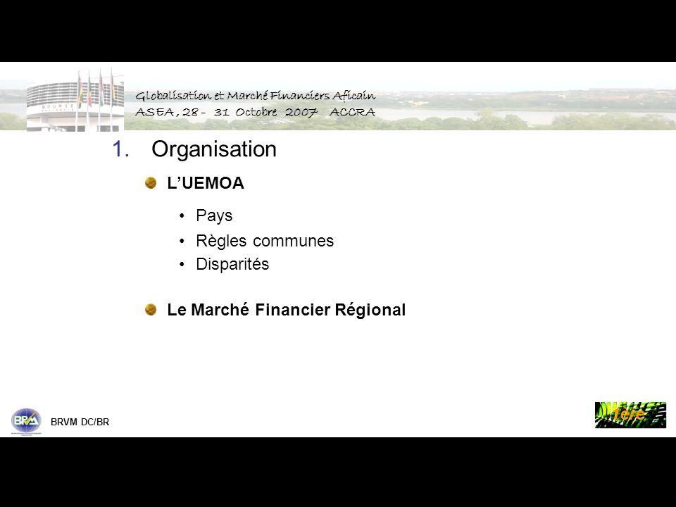 Palmes de la Bourse BRVM DC/BR 1ère 8 pays Francophones Bénin, Burkina Faso, Côte dIvoire, Guinée-Bissau, Mali, Niger, Sénégal, Togo 80 millions dhabitants, PIB : 24 330 Milliards de FCFA 50 Billions USD 1.U nion E conomique et M onétaire O uest A fricaine Pays de lUEMOA Globalisation et Marché Financiers Aficain ASEA, 28 - 31 Octobre 2007 ACCRA