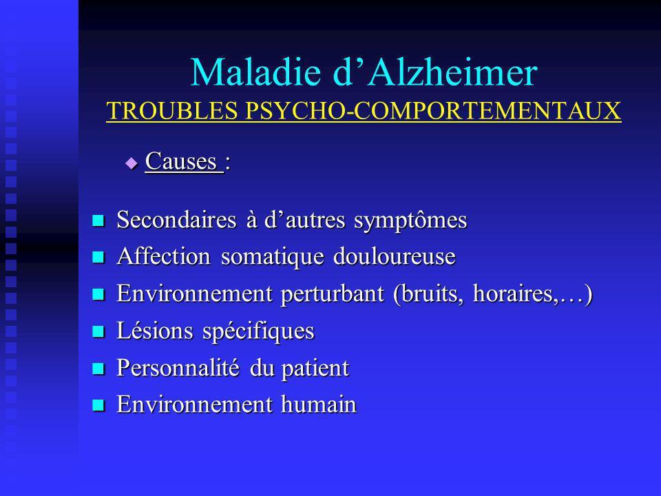 Maladie dAlzheimer TROUBLES PSYCHO-COMPORTEMENTAUX Causes : Causes : Secondaires à dautres symptômes Secondaires à dautres symptômes Affection somatiq