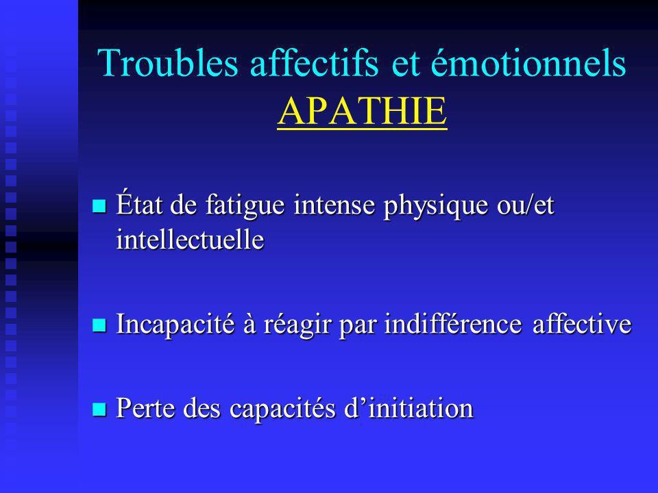 Troubles affectifs et émotionnels APATHIE État de fatigue intense physique ou/et intellectuelle État de fatigue intense physique ou/et intellectuelle
